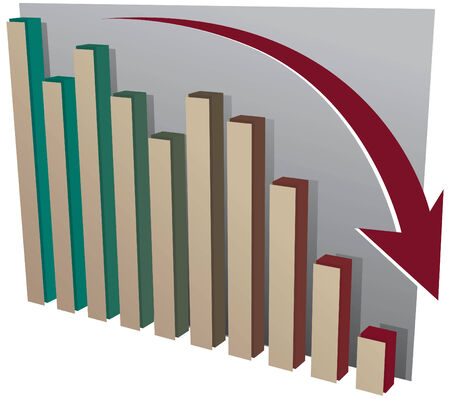 downgrade: Stock market crash chart Illustration