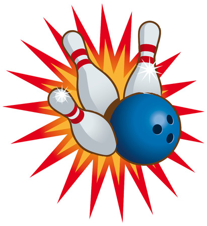 ten pin bowling: Bowling ball and falling bowling pins.