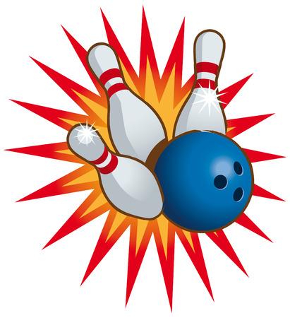 Bowling Ball fallen und Bowling-Pins. Vektorgrafik