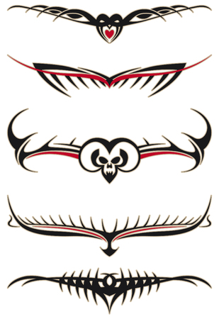 Tribal tattoos set with red elements Vector