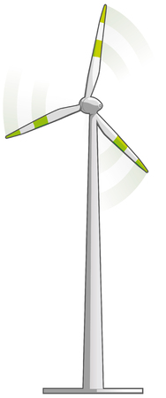 Wind turbine on white background