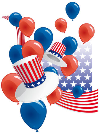 USA party with hats and balloons Illustration