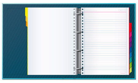 Open office binder with tabs and blank pages