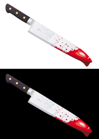 Big bloody knife isolated on white and black background