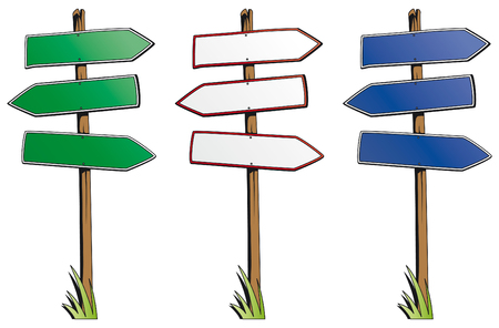 Set of direction signs isolated on white background