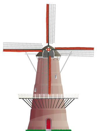 Dutch windmill isolated on white background Vector