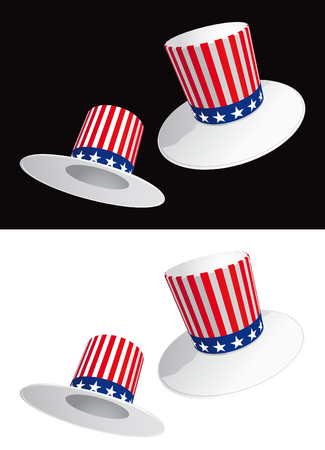 Two USA hats with stripes and stars Stock Vector - 6258117