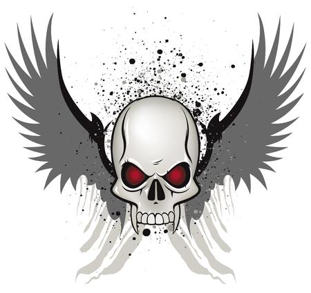 bandidas: Emblema de cr�neo mal sobre fondo blanco Vectores
