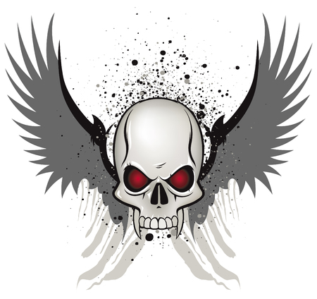 Evil skull emblem on white background Illustration