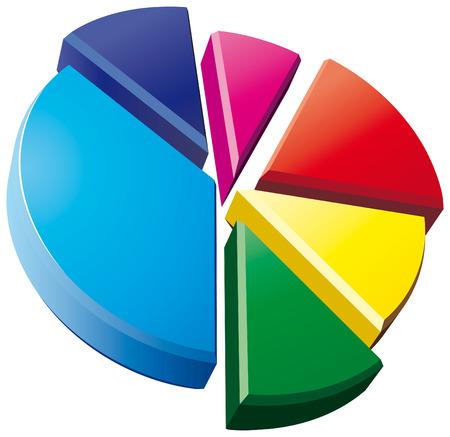 3D pie chart on white background Illustration
