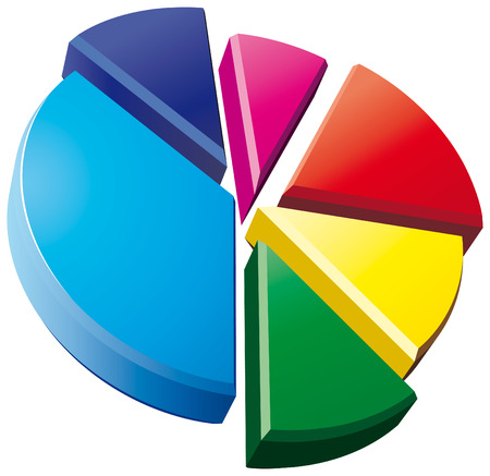 3D pie chart on white background Illustration