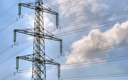 volts: Electric power mast and lines Stock Photo