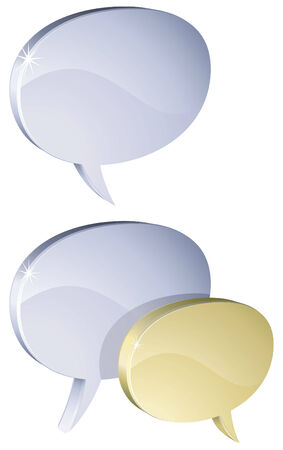 Metal 3D speech bubbles isolated on white background