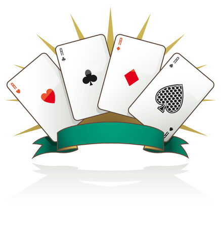 Playing card aces with text banner and reflection isolated
