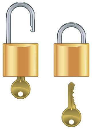 Open and closed padlock set with key isolated