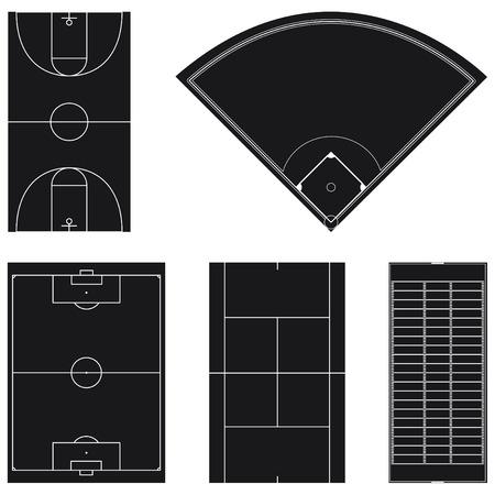 campo de beisbol: Cinco dise�os de campo de deporte popular en negro aislado