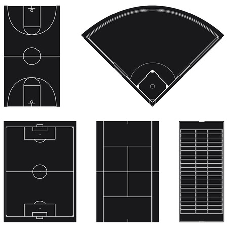 indoor court: Five popular sport field layouts in black isolated Illustration