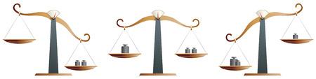 justice scales: Equilibrio de lat�n escala aislado sobre fondo blanco