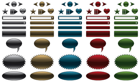 Website buttons and banners with glossy metallic look  Vector
