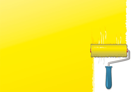 Yellow paint roller background