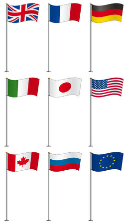 Flags of G8 members (and EU) on flag pole isolated