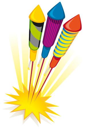 Cohetes de fuego artificial sobre fondo blanco  Ilustración de vector