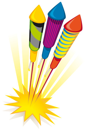 Firework rockets on white background Vector
