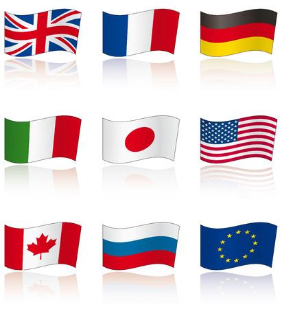 Drapeaux des membres du G8 (et UE) avec la réflexion
