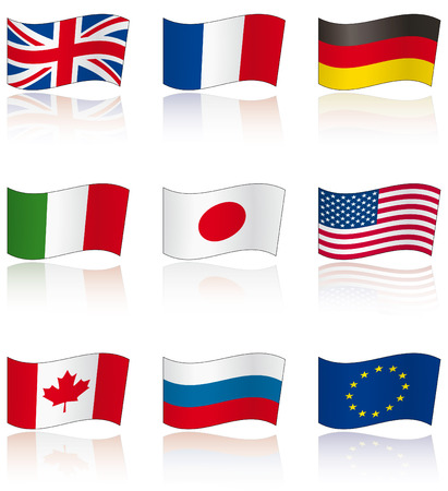 Flags of G8 members (and EU) with reflection