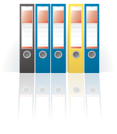 tabbed folder: Row of colored ring binders  Illustration