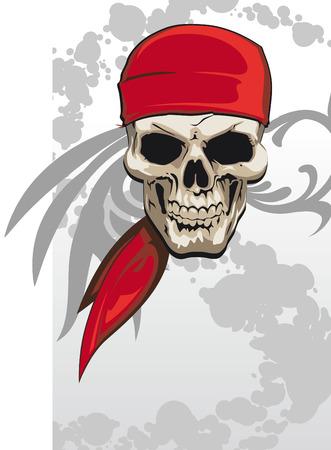 Pirate skull with red bandana background  Illustration
