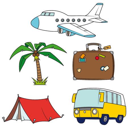 Vakantie en reizen clip-art set geïsoleerd op witte achtergrond