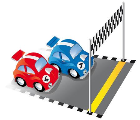 course de voiture: Deux voitures de course dr�le sur la piste de course avec ligne d'arriv�e et le drapeau � damiers Illustration