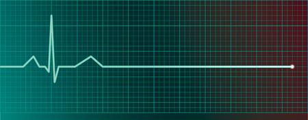 Heart pulse monitor with flatline  Illustration