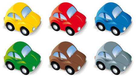 toy car: Funny car set in six different colors isolated Illustration