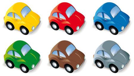 Drôle de voiture en six couleurs différentes isolés