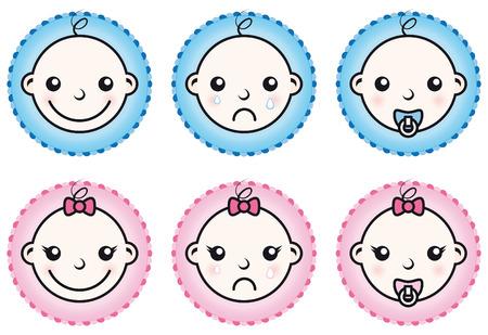 Baby boy and girl icons set isolated on white background