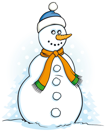 Happy snowman illustration on white background  Vector