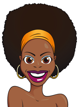 Beautiful african girl portrait isolated on white background  Vector