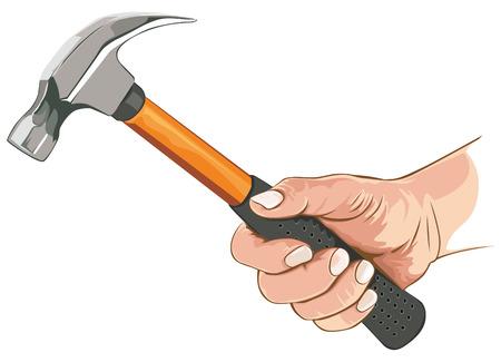 Hand met klauw hamer