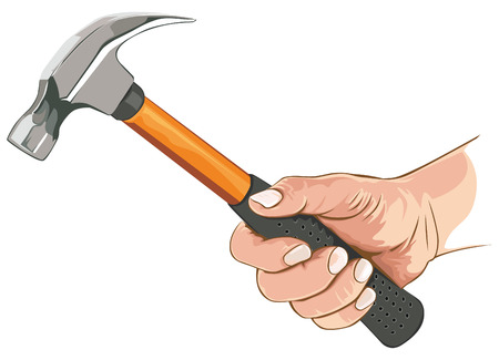 Hand with claw hammer Иллюстрация