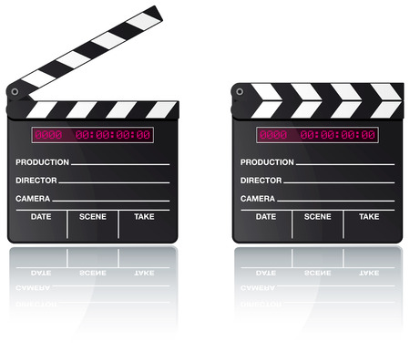 film title: Digital movie clapper board set with reflection