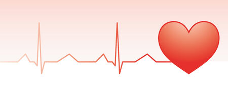 Red heart pulse monitor with heart shape