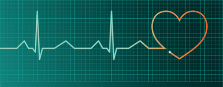 Heart pulse monitor with red heart shape  Illustration
