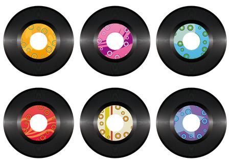 grooves: Vintage vinyl record set isolated on white background  Illustration