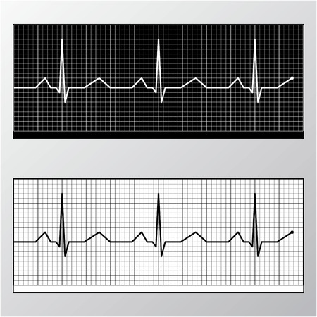 Heart pulse monitor black and white  Stock Vector - 7457685