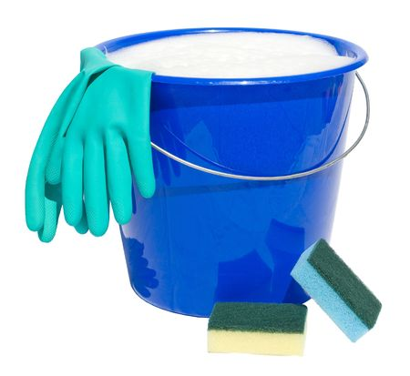 Cleaning bucket with sponges and gloves isolated on white background