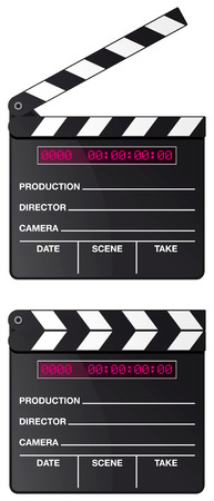 movie clapper: Digital movie clapper board set isolated on white background