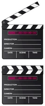 movie clapper: Il Consiglio di amministrazione di filmato digitale Batacchio imposta isolato su sfondo bianco  Vettoriali