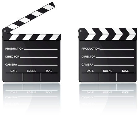 movie clapper: Consiglio di amministrazione del Batacchio film impostati con la riflessione su sfondo bianco  Vettoriali